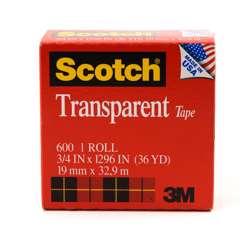 3M 600 Scotch Transparent Tape 3/4x36 Yards