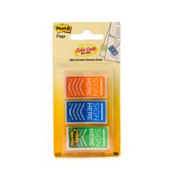 3M Post-It Flags Sign Here 682-Sh-Obl In Otg Dispenser. 1x1.7 In (25.4 mmx43.2 mm), 20 Flags/Color, 3 Colors/Pack