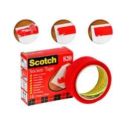 3M FT500013055 Scotch 820 Secure Tape Red 35mmx33M