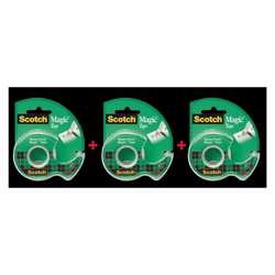 3M 105 Magic Tape With Dispenser, 3 Pieces In A Pack