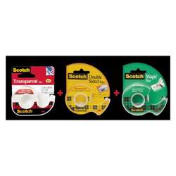 3M Magic Tape With Double Side Tape Dispenser, 105 + 144 + 136, Combo Pack