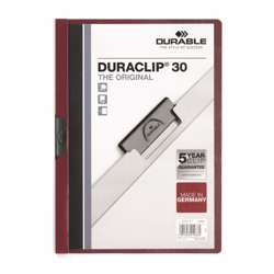 Durable 2200-31 Duraclip, Dark Red Colour, A4 Size, 30 Sheets Capacity