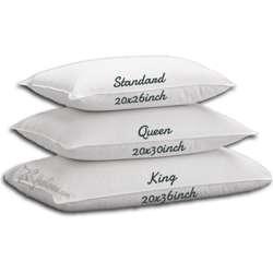 Hungarian Goose Silver Line Down Pillow 2Pcs King Size 20x36 inch Medium 34 oz