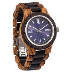 Wilds Wood Men''s Handcrafted Engraving Zebra & Ebony Wood Watch - Best Gift Idea!