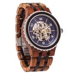 Wilds Wood Men''s Premium Self-Winding Transparent Body Ambila Ebony Wood Watch