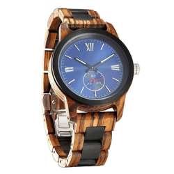 Wilds Wood Men''s Handcrafted Engraving Zebra Ebony Wood Watch - Best Gift Idea!
