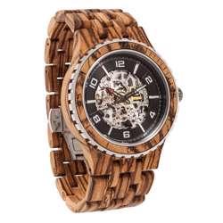 Wilds Wood Men''s Premium Self-Winding Transparent Body Zebra Wood Watch