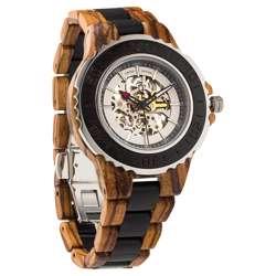 Wilds Wood Men''s Genuine Automatic Zebra & Ebony Wooden Watch No Battery Needed