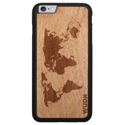 WUDN Slim Wooden Phone Case - World Map Traveler