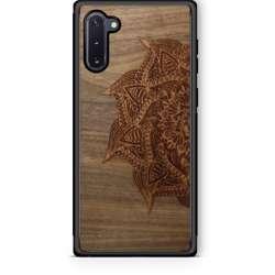 WUDN Slim Wooden Phone Case - Mandala in Black Walnut Aromatic Cedar Inlay