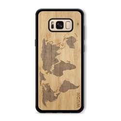 WUDN Slim Wooden Phone Case (Bamboo Inlay) - World Map Traveler