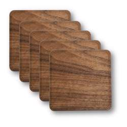 WUDN Customizable Solid Wood Coasters - 4-Pack