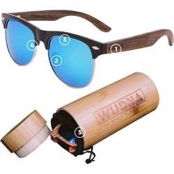 WUDN Real Bamboo Tortoise Frame Browline Style Retro Shade Sunglasses