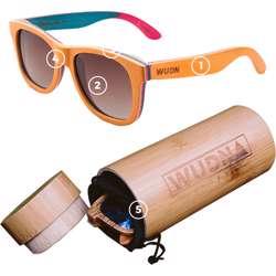WUDN Recycled Skatedeck Kickflip Natural Sunglasses
