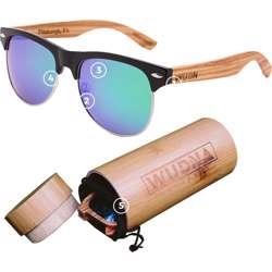 WUDN Real Zebra Wood Browline Style Retro Shade Sunglasses