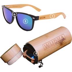 WUDN Real Bamboo Wood Wanderer Style Sunglasses