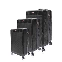 ABS+PC Hard Shell Trolley Luggage Set With Horizontal Lines (3 Different Sizes) - Black