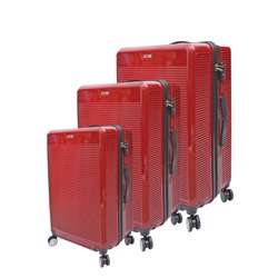 ABS+PC Hard Shell Trolley Luggage Set With Horizontal Lines (3 Different Sizes) - Red