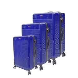 ABS+PC Hard Shell Trolley Luggage Set With Horizontal Lines (3 Different Sizes) - Blue