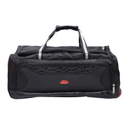 Smart Duffle Travelling Bag With Plastic Wheel (Black with Black Patches) - 3 Different Sizes