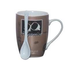 Delcasa DC1440 Porcelain Bullet Mug with Spoon 12oz
