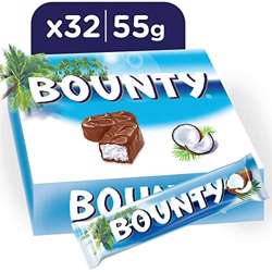 Bounty Milk Chocolate Bars, 55gm x 32 bars