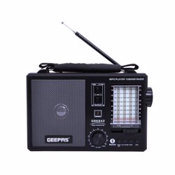 Geepas GR6842 Rechargeable 10 Band Radio, Bluetooth-ready