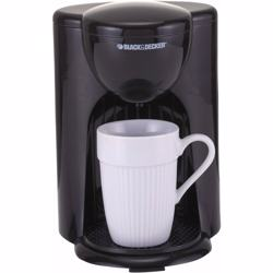 Black+Decker 330W Coffee Maker, One Cup Coffee Machine for Drip Coffee and Espresso with Coffee Mug, DCM25-B5 Black