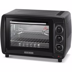 Black+Decker Double Glass Toaster Oven with Rotisserie, Black, Tro35Rdg-B5