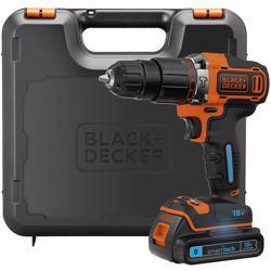 BLACK+DECKER 18 V Lithium-Ion Smart Tech Hammer Drill Driver with Kit Box